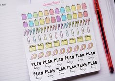 Plan Time Planner Stickers Stationery for Erin by LeonaPrints #planner #stickers #stationery #planning #plan #etsy #handmade #crafts #diy #draw #handdrawn #kikkik #erincondren #filofax #matt #plannercommunity #cute #notes #post-it #washi #washitape #clip #pen #rainbow