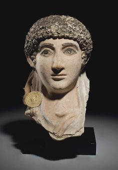 Egyptian Painted Plaster Mummy Mask - Roman Period, c Early to Mid 2nd Century CE