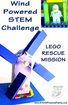 Wind Power STEM Challenge - Mission: Lego Rescue. A fantastic STEM challenge that encourages the creation of mechanical energy with a tinker box windmill to rescue a minifig.