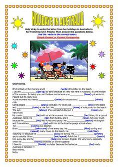 Holidays in Australia - a letter worksheet - Free ESL printable worksheets made by teachers