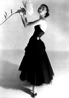 Evelyn Tripp in Charles James dress, 1955.