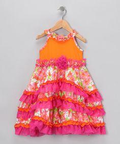 Orange & Pink A-Line Ruffle Dress - zulily