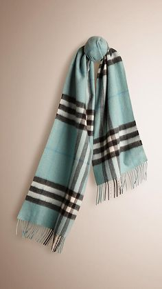 Burberry Light Green Opal check Check Cashmere Scarf - Warm brushed cashmere scarf in check.  Fringing at both ends.  Discover the scarves collection at Burberry.com