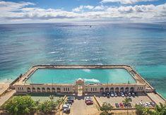 waikiki natatorium - Google Search Salt Water Swimming Pool, Swimming Pools, Honolulu City, Honolulu Hawaii, Council House, Public Architecture, Somewhere In Time, Learn To Swim, Salt And Water