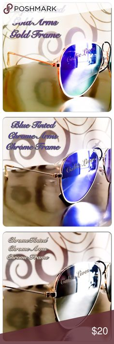 Mirrored Tinted Aviator Sunnies Gold Silver Frames Mirror Tinted Aviator Sunglasses     One Size     UV 400 Protection     Lead & Nickel Compliant     Aqua (Blue)     Champagne (rose gold)     Orange     Purple     Rhodium ( silver) Callie Lives Accessories Glasses