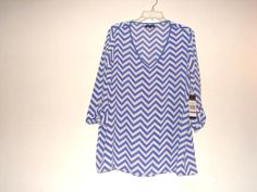 KIARA womens chevron shirt ROYAL BLUE/ WHITE top 3/4 sleeve ~ XX-LARGE #kiara #Blouse #Casual