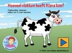 Digibordles tellen tot 15, kleuteridee, gecijferdheid thema de koe, cow counting Kindergarten IWB.