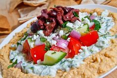 Greek 7 Layer Dip - This has got to be better for you than the Mexican version with sour cream, beans, cheese, and guac.