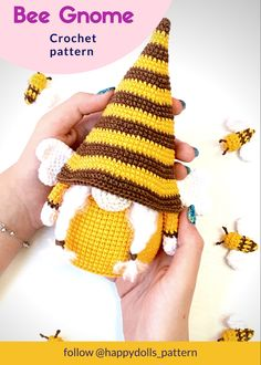 Crochet Bee, Diy Crochet And Knitting, Free Crochet, Crochet Fall, Crochet Patterns Amigurumi, Knitting Patterns, Gnome Ornaments, Unique Crochet, Crochet Projects
