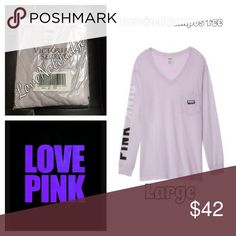 NWT VS PINK OVERSIZED VNECK CAMPUS TEE- large NWT VS PINK OVERSIZED VNECK CAMPUS TEE- large. Super over sized fit! Brand new in the package as shown in top left photo. Many other colors available, as well as in long sleeve CREW style. No trades, discounts offered on all bundles! Feel free to ask questions! XoXoX @ LoveNotJudge PINK Victoria's Secret Tops Tees - Long Sleeve