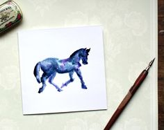 Equine Card, Horse Card, Pony Card, Birthday Horse Card, Animal Card, Horse Silhouette card, Horse With sympathy Card, Starry night sky card by BEEautifulcreatures on Etsy