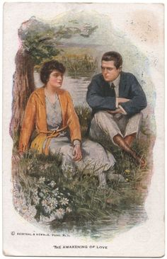 """This is a lovely vintage, illustrated, artist signed (signed in print) postcard by Raphael Kirchner of a couple sitting on the bank of a creek. It's titled, """"The Awakening of Love"""" and it's published by Reinthal Newman of N. A Fine Romance, Vintage Romance, Vintage Love, Vintage Art, Vintage Postcards, See Photo, Awakening, Artist, Couple"""