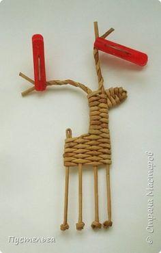 Олени для детских МК (всего 12 трубочек). Идея взята у мастеров плетения из лозы. фото 13