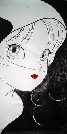Yoshitaka-Amano-Female-with-Lipstick-