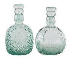Set de 6 botellas de vidrio con tapón - transparente