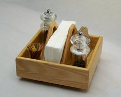 Lazy Susan, Kitchen Caddy, Salt and Pepper Holder, Smart Home Organizer, Oak Wood, 9 inches