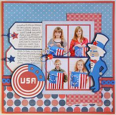 USA scrapbook layout  #Cricut
