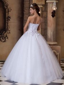 Strapless Embroidery White Quinceanera Dress Tulle