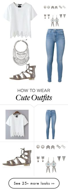 """""""Cute spring outfit"""" by snhollick on Polyvore featuring 7 For All Mankind, Charlotte Russe, Topshop and Express"""