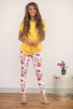 White Floral Leggings, mustard top, magenta smile - The Pink Lily Patterned Leggings, Floral Leggings, Dress Outfits, Cute Outfits, Dresses, Pink Lily Boutique, Street Style Trends, Luxury Dress, Leggings Fashion