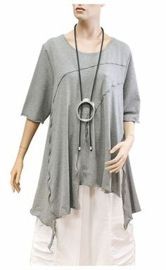DIFERA Jagged Hem Rayon Jersey Lagenlook Tunic XS 4X 3 4 Sleeves | eBay
