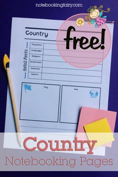 Country Notebooking Pages FREE from the Notebooking Fairy Teaching Geography, World Geography, Teaching Spanish, Spanish Teacher, Spanish Classroom, Teaching Writing, Homeschool Curriculum, Homeschooling Resources, Teacher Resources