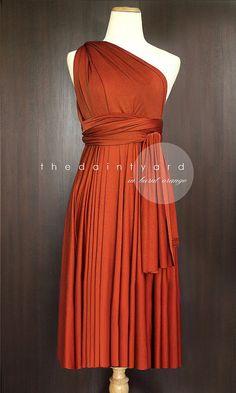 Short Straight Hem Burnt Orange Bridesmaid Prom Wedding Infinity Convertible Wrap Dress Maid of Honor Dress