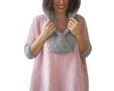 Plus Size Hand Knitted Ecru Poncho with Leather Rope by by afra