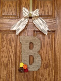 Monogram Jute Letter with Burlap Flowers and Chevron Burlap Bow- Monogram  Door  Wreath- Chevron  Door Wreath- Monogram Initial Jute Wrapped on Etsy , Fall Wreath