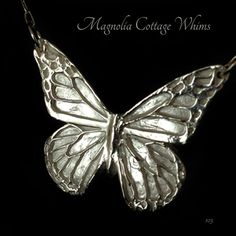 Silver Butterfly Necklace, Reversible to Tiny Flower Texture by Magnolia Cottage Whims ACS, Fine Silver Jewelry, Artisan Jewelry, Precious Metal Clay www.Etsy.com/shop/MagnoliaCottageWhims