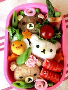 #charaben  yaraben or charaben , a shortened form of character bento , is a style of elaborately arranged bento which features food decorated to look like people, characters from popular media, animals, and plants. Japanese homemakers often spend time devising their families' meals, including their boxed lunches. Originally, a decorated bento was intended to interest children in their food and to encourage a wider range of eating habits.