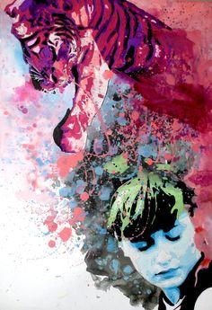 """""""My Spirit"""" colori acrilici su carta ruvida 48x33 questa opera rappresenta il nostro spirito che è in noi che veglia su di noi e che ci difende nei momenti più bui."""