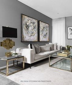Circle of Infinity Large Grey and Gold abstract painting Zen Luxury Contemporary Diptych by artist Bilyana Stoyanova Original Wall Art Silver Living Room, Glam Living Room, Interior Design Living Room, Home And Living, Small Living, Beige And Grey Living Room, Grey Interior Design, Elegant Living Room, Living Room Decor Gold