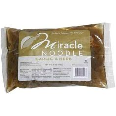 Enjoy Miracle Garlic Herb Fettuccine Noodles (6x7 Oz). Miracle Noodle Garlic & Herb is the same as fettuccini but is seasoned with garlic and mixed herbs. The natural aroma of shirataki is reduced and