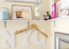 I need this Gold sequined hanger in my office