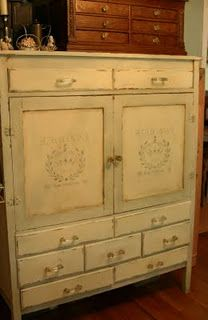 School House Cabinet Created Using Annie Sloan Chalk Paint By Karla At Lady  Butterbug. Stencil By Maison De Stencils