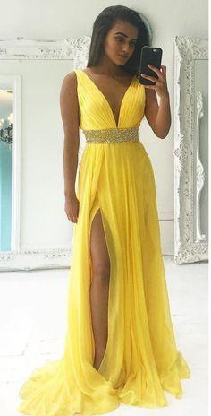 Sexy Slit Yellow Prom Dress,Deep V-neckline Evening Dress,Slit #prom #promdress #dress #eveningdress #evening #fashion #love #shopping #art #dress #women #mermaid #SEXY #SexyGirl #PromDresses