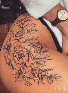 25 Inspirational Flower Hip Thigh Tattoo Design Ideas For Sexy Woman – Inspirational hip thigh tattoo ideas for woman, first tattoo on thigh, flower tattoo design ideas, ink rose tattoo, female tattoo design on. Flower Hip Tattoos, Hip Thigh Tattoos, Cute Hand Tattoos, Floral Thigh Tattoos, Sexy Tattoos For Women, Thigh Tattoo Designs, Body Art Tattoos, Rose Tattoo Thigh, Side Hip Tattoos