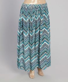 Loving this Blue Zigzag Maxi Skirt - Plus on #zulily! #zulilyfinds