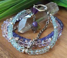 Multi Gemstone 4 Strand Bracelet Tanzanite Aquamarine Amethyst Oxidized Sterling Fine Sterling Easy Push Clasp by IsaStone on Etsy