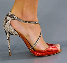 """Christian Louboutin So F...100 Sandal   Enticing python design with skinny criss-cross straps and an ultra-high heel.  Self-covered heel, 4"""" (100mm)  Python upper  Leather lining  Signature red leather sole  Padded insole"""