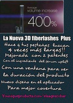 La nueva 3D fiberlashes mascara  plus!! La mejor mascara q se haya podido crear!! Mejorada,  sin imitaciones!! Humecta y protege tus pestañas! ! Adquierelo hoy compralo en este link: Youniqueproducts.com/elsagescobar