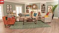 "Lifestyle blogger Rhoda Vickers of Atlanta used a spectrum of orange to create this living space for a design contest: ""I wanted to design a fun and fresh room with lots of color."""
