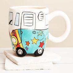 Minibüs Tasarım Porselen Kupa Bardak Vosvos Turkuaz