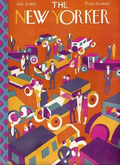 The New Yorker - Jan.. 8, 1927 - Art Deco / Great Gatsby magazine cover John Held Jr