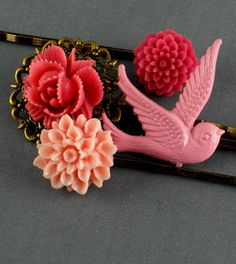 Vintage Bronze Hot Pink Bird orchird Bobby Pins
