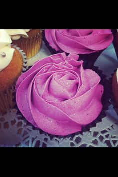 Raspberry rose swirl cupcake