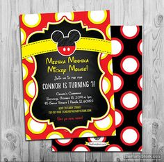 Mickey Mouse Birthday Invitation  Printable Party by thepartystork