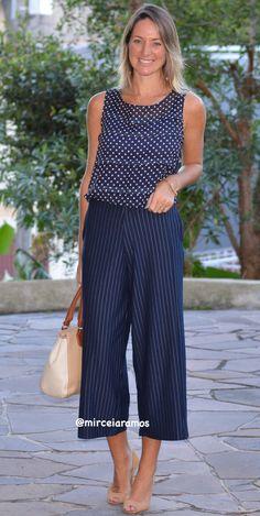 Look de trabalho - look do dia - look corporativo - moda no trabalho - work outfit - office outfit -  spring outfit - look executiva - look de verão  - summer outfit - blue - navy - pantacourt - mix de estampas - risca de giz - poá - listra - mix anos match