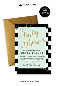 Black and white striped baby shower invitation with mint green and gold glitter confetti details. Gender neutral invitation can be used for boy baby shower or girl baby shower. Classic glam, also to be used as a wedding invitation, bridal shower, any other event. Gold shimmer envelopes also available. digibuddha.com